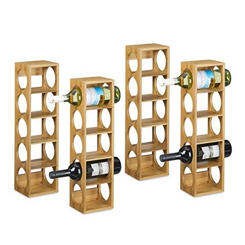 Relaxdays 4X Weinregal Bambus, Flaschenhalter 5 Fächer, Holzregal für Wein, Flaschenregal modern, HxBxT: 53 x 14 x 12 cm, Natur