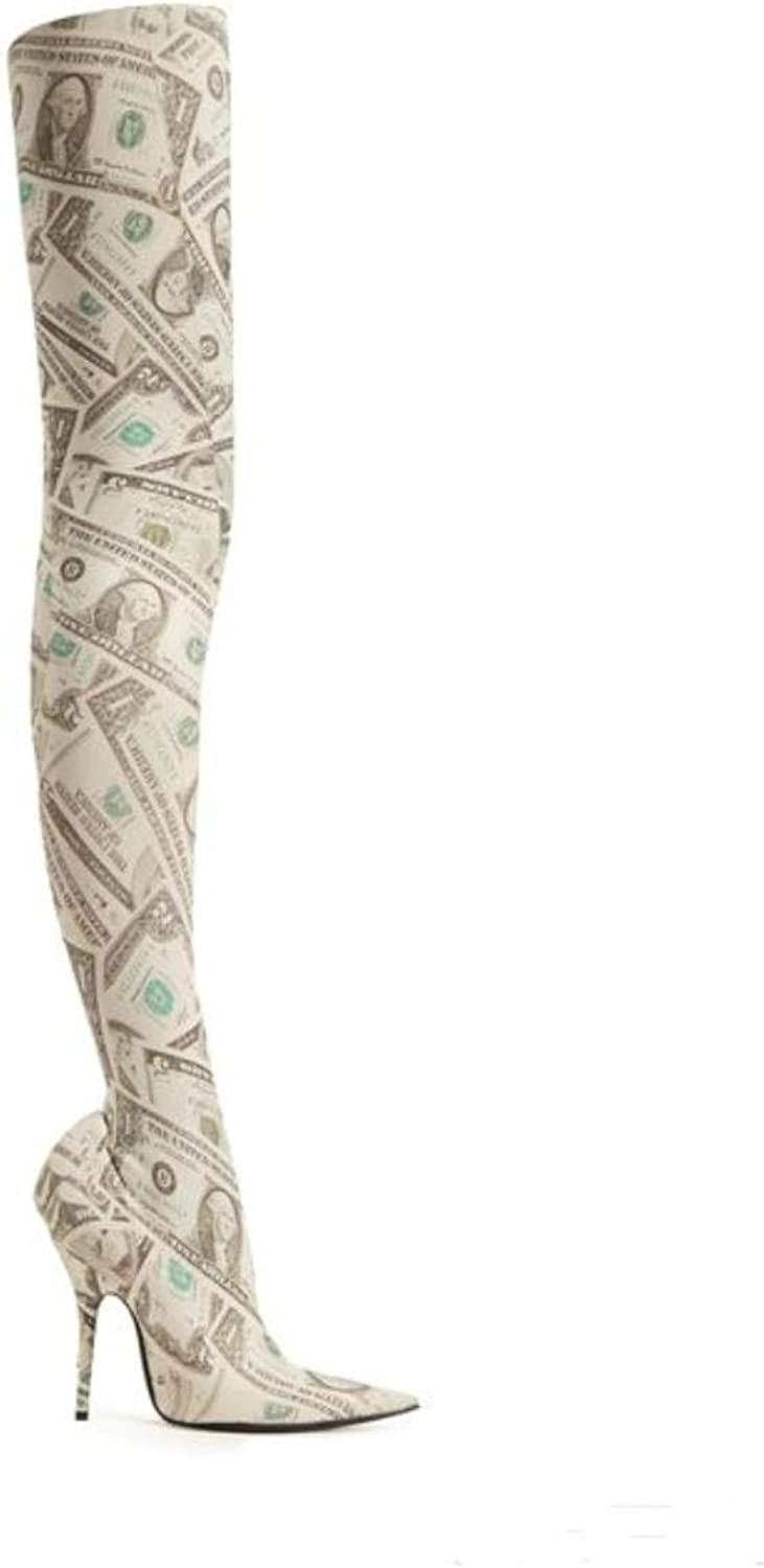 Women's dollar pattern over the knee boots fashion sexy ultra high heels