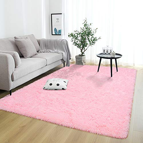 Rostyle Super Soft Fluffy Area Rugs for Bedroom Living Room Shaggy Floor Carpets Shag Christmas Rug for Girls Boys Furry Home Decorative Rugs, 4 ft x 6 ft, Pink