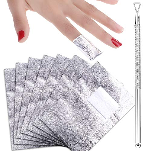 Chuangdi 400 Pieces Nail Polish Remover Foil Nail Wraps Soak off Gel Remover with Cuticle Pusher for Nail Polishing Removing Supplies