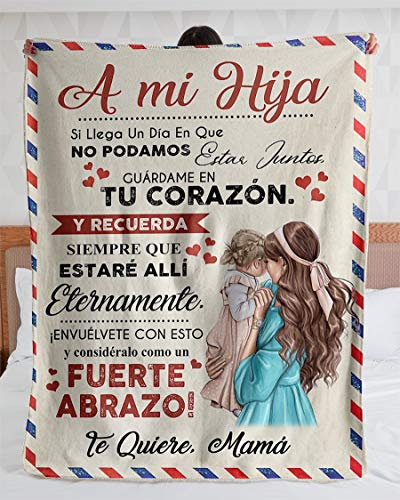 Personalized Blanket-Personalized Carta A Mi Hija Te Quiere Mama| Fleece Sherpa Woven Blankets| Gifts for Daughter, Regalo para Hija