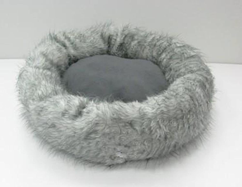 BiuTeFang Pet Bolster Dog Bed Comfort Lamb Big Kennel mat pet Nest 72x72x15cm Grey Plush