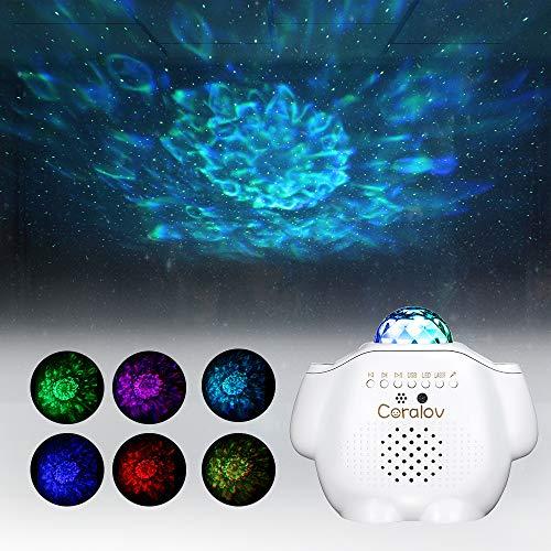 Sternenhimmel Projektor Nachtlicht Lampe mit Fernbedienung und Bluetooth Lautsprecher Ocean Wave Sternprojektor Wasserwellen für Party Feier Geburtztag