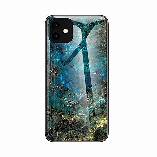 Miagon Glas Handyhülle für iPhone 12 Pro,Marmor Serie 9H Panzerglas Rückseite mit Weicher Silikon Rahmen Kratzresistent Bumper Hülle für iPhone 12 Pro,Grün