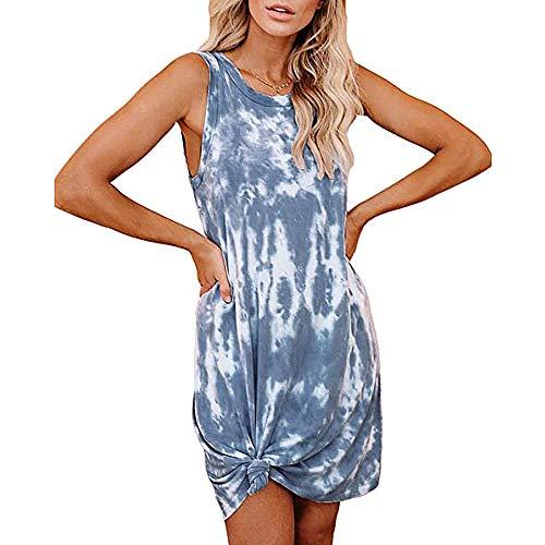 OWIN Women's Tank Dress Tie Dye Mini Dress Sleeveless Shirt Swing Dress Loose Casual Crewneck Sundress