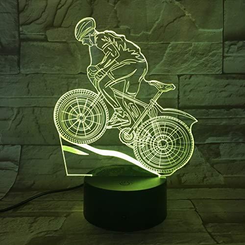 jiushixw 3D acryl nachtlampje met afstandsbediening van kleur veranderende tafellamp mountainbike sports grijs nachtkastje