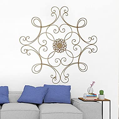CTD Store Wall Square Scrolled Medallion Metal Elegant Look ; Perfect For Home Decoration(Rustic Champagne)