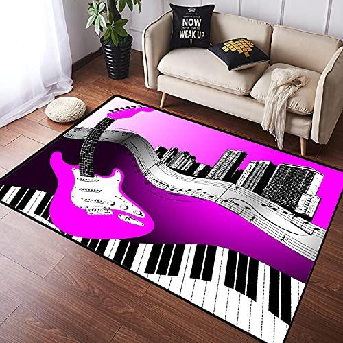 NANITHG Alfombra Salon Grandes Pelo Corto Fondo de música de Vector de Guitarra de Ciudad Suave Antideslizante Alfombras Dormitorio Modernas Lavables para Sala Habitación Infantil 100x160cm
