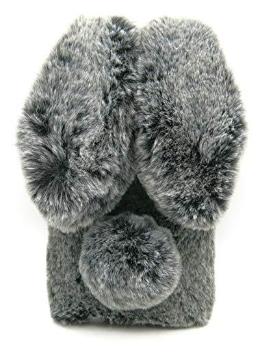 Samsung A10e A20e Furry Bunny Case Black, Galaxy A10e A20e Fluffy Case, Women Fashion 3D Faux Fur Fluffy Rabbit Ear Case for Samsung Galaxy A10e & A20e Girls