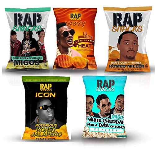 Rap Snacks potato chips variety pack-Lil Boosie, Fetty Wap, Migos, Romeo Miller, Migos Popcorn- 2.75 oz bags (Pack of 5)