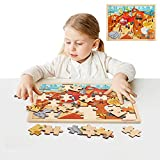 TOP BRIGHT Wooden Puzzles for Toddlers 48 Pcs Wooden Jigsaw Puzzles for 3 4 5 Year Old Kids Learning Educational Toys Boys Girls Birthday Gift Toddler Puzzle with Storage Tray