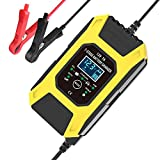 N/AA Car Battery Charger 12V 7A 7 Stage Intelligent Automatic Trickle Battery Charger Maintainer with LCD Screen for Motorcycles Cars Ships and Other Equipment, Suitable for More Types of Batteries
