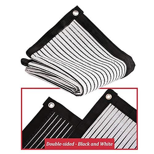 Filet d'ombrage Chiffon 75% Sunblock Shade Cloth - Filet D'ombrage en Aluminium Réfléchissant avec Œillets pour Plante Extérieure/Toit/Camping, Noir Blanc (Size : 1.5×2m)