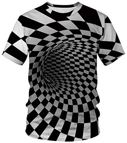 Ocean Plus Unisex Rundhals Sportswear T-Shirt Kostüm mit Aufdruck Fasching Größen S-3XL Tops mit Kurzarm (XXL (Referenzhöhe: 175-180 cm), Quadratischer Tunnel)