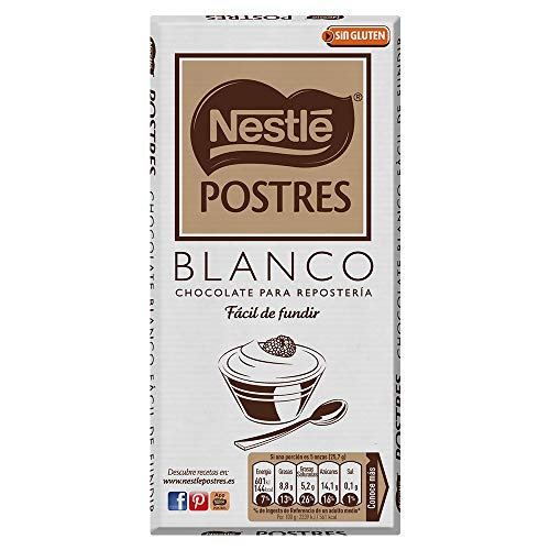 NESTLÉ POSTRES Chocolate Blanco para fundir - Tableta de