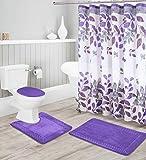 Luxury Home Collection - Set di 16 tappetini da Bagno in Memory Foam, Antiscivolo, con Tappetino da Bagno, Tappetino per Contorno, Copri WC, Tenda da Doccia e 12 Ganci in Metallo Raissa metallizzate