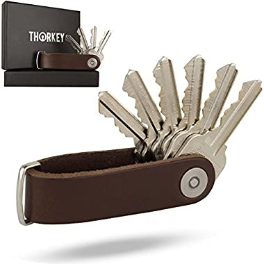 Smart Compact Key Organizer Keychain - 100% Real Leather Key Holder - Secure Locking Mechanism - Pocket Key Chain up to 10 Keys & Tools - EDC Stainless Steel Multitool, Bottle Opener, Screwdriver