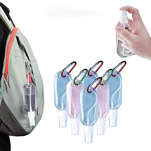 6 botellas de spray de tamaño de viaje, botella de spray de niebla fina, botella de plástico dispensador de espuma, recipiente recargable desinfectante de mano vacía con cabezal de pulverizaci