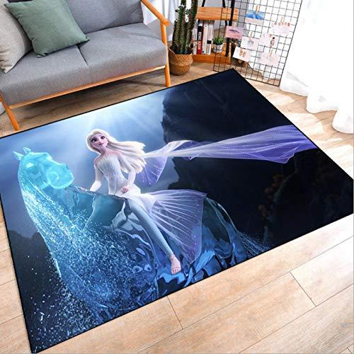 KegamiMisa Teppiche Wohnzimmer Teppich Gefroren Anna ELSA Türmatte Kinder Jungen Mädchen Spielmatte Kinder Teppich Schlafzimmer Küche Badezimmer Matte 140X200Cm