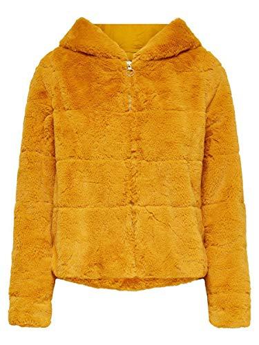 ONLY Damen ONLCHRIS FUR Hooded Jacket OTW NOOS Jacke, Golden Yellow, M