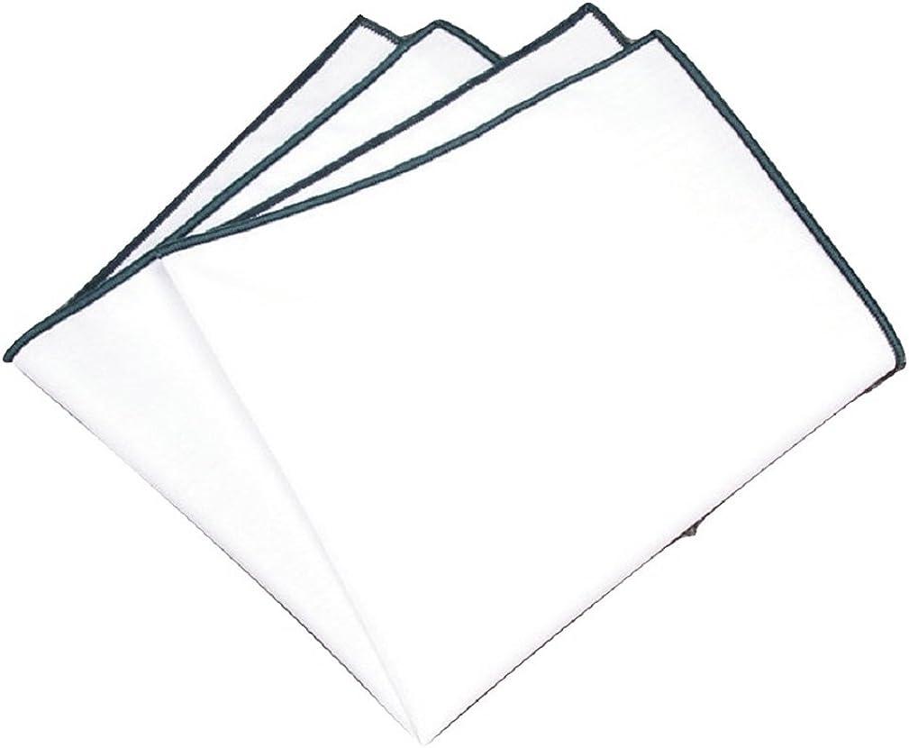 L&L Premium Men's 100% Cotton Pocket Square Handkerchief Hanky Trim Wedding