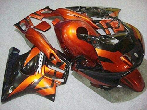 FATExpress Orange with Black Fairing Complete Bodywork ABS Plastic Painted Injection Molding Kit for 1997-1998 Hon-da CBR 600 F3 CBR600F3 CBR600 Windshield & Heat Shield as
