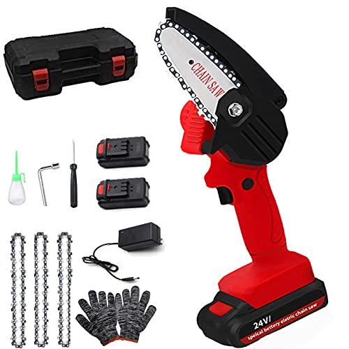 Mini motosierra eléctrica de 4 pulgadas, juego de mini motosierra manual con dos pilas de 24 V, un par de guantes, 4 cadenas, tijeras de jardín para cortar ramas de madera (rojo)