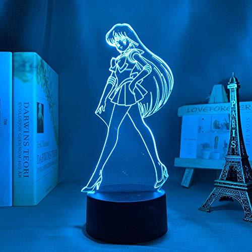 Lámpara de noche 3D de anime, ilusión, anime, sailor Moon Sailor Mars, luz LED para dormitorio, decoración, luz nocturna infantil, regalo de cumpleaños, manga Sailor Moon 3D lámpara cama