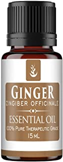 PURE Ginger Essential Oil (15 ml), Convenient Dropper Cap Bottle, Food Safe, Helps Reduce Nausea, Aids in Digestion, Hot, ...