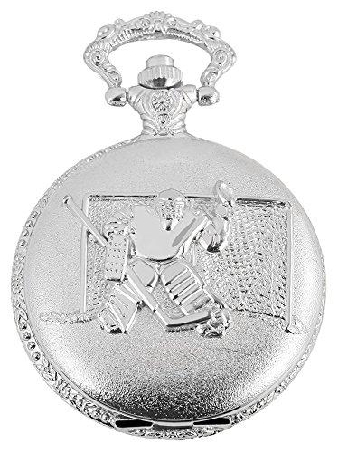 Tavo Lino Analog Reloj de bolsillo con cadena de metal y diseño Deportes hockey sobre hielo 480822000003Plata coloreado Chasis tamaño 46mm x 16mm con esfera de color blanco y cristal mineral.