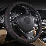coofig Funda Transpirable Antideslizante para Volante de Coche de 15 Pulgadas de PU Cuero,Compatible con Universal Car Truck SUV (Negro rojo-4)