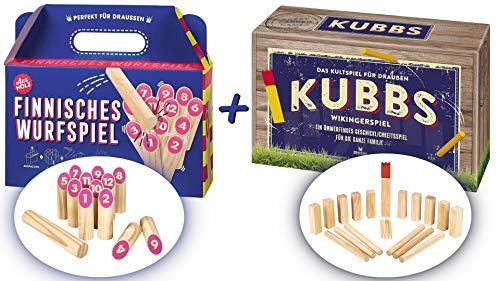 Draußen Spiele-Set Kubbs Wikingerspiel + Finnisches Wurfspiel
