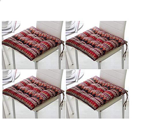Honmao - Juego de 4 cojines de asiento de lino grueso, 7 cm, cojín de asiento estilo retro, liberación de presión de cadera