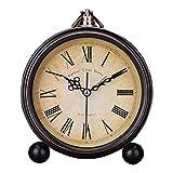 Sanwer 目覚まし時計 アラーム クロック 金属感 レトロ調 ベル音 掛け式 立て式 多用性 置き時計 アンティーク風 スタイリッシュ 寝室 シンプル リビング 入園 入学祝い おしゃれ