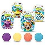 CRAZE Inkee Funny Faces Farbwechsel Badebombe 4er Set Schaumbad Hund Einhorn Ananas Emoji Farbbad 30288, Badespaß für Kinder
