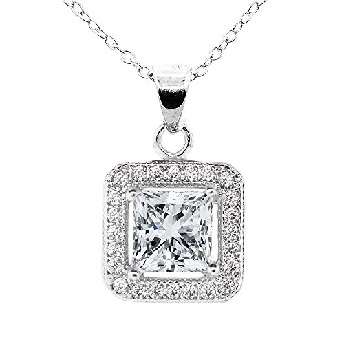 Cate & Chloe Ivy 18k White Gold Plated Princess Cut Halo Pendant Necklace - Silver Halo Necklace w/Solitaire Square Cut Cubic Zirconia Diamond - Wedding Anniversary