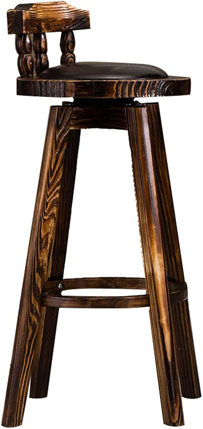 Wooden Bar Chair High Stool Creative Barstool with Backrest and Footrest redating Breakfast Stool Vintage Counter Chair