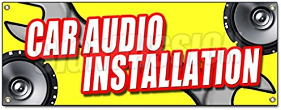 CAR Audio Installation Banner Sign Stereo Speakers Repair amps auto