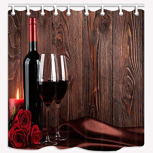 Fanghua Cortina de ducha de madera de rosa de vino tinto para pared de baño de tela duradera, accesorios creativos con 12 ganchos, 180 x 180 cm