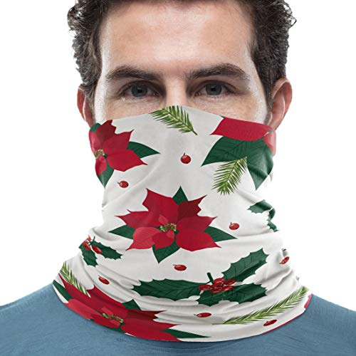 Unisex Neck Gaiter Christmas Vintage Red Floral Christmas Berry 18 x 9 inch Sun Protection Scarf Lightweight & Breathable Head Wraps Sport Neck Scarf Headbands for Running/Cycling
