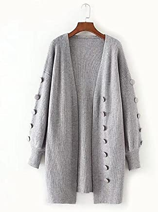 BaiChunYunYi Women's Long Casual Daily Single Out Cardigan Full Colour VNeck Long Sleeve Wool Cotton Spring Autumn Slim