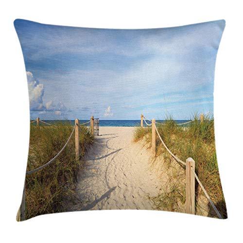 Funda de Cojine Funda de cojín para cojín de playa, entrada a la playa de arena con vallas en el sur de Miami Imagen de vacaciones de estilo americano relajante Throw Cojín 45 X 45CM