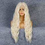 Life Diaries 6inch Platinum Blonde Top Grade Long Nature Wave Wig High Density Heat Resistant Fiber Bleached Knot Glueless Large Part Space Transparent Lace Front Synthetic Wig For Women