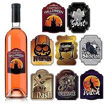 40 Pieces Halloween Wine Bottle Labels Hallowee...