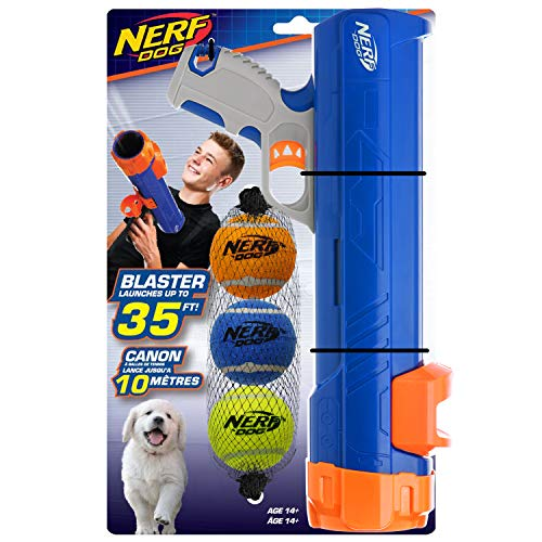 Nerf Dog Large Size Tennis Ball Blaster Dog Toy, Great for Fetch, Hands-Free Reload, Launches up to 50 ft, Single Unit, Includes 3 Nerf Balls & Bag, 20in Blaster w/ 3 Balls in Mesh Bag