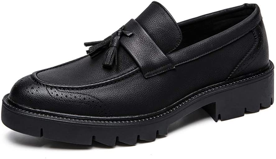 HONGkeke Men's Business Tassel Loafers for Men Slip-on Work Oxfords Casual Shoes Soft Synthetic Leather Rubber Lug Sole Fashion Durable (Color : Black, Size : 6 M US)