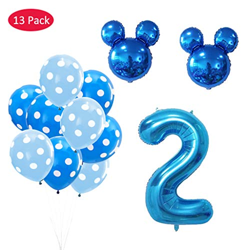 Amycute 13 pcs Mickey Fiesta de cumpleaños 2 año, Decoración Globos de Cumpleaños Mickey Azul Numero 1 Globo de Papel de Aluminio y Globo de Latex Negro Azul para Happy Birthday Niños de 2 año