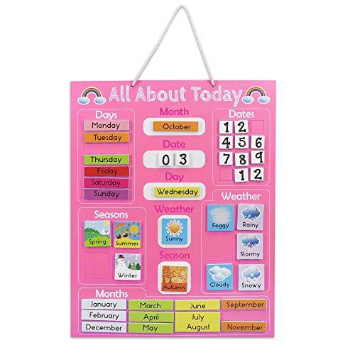 Navaris Kalender Tafel für Kinder - Lerntafel Jahreszeiten Uhr - Magnet Spiel Lernuhr - Kinderkalender Jahreskalender - magnetisch - rosa - Englisch