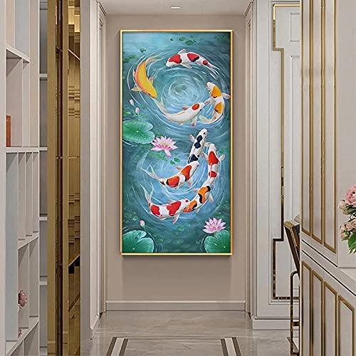 LIANGX Koi Fish Feng Shui Carpas Lotus Estanque Imagen Lienzo Arte de Pared Póster e Impresiones Cuadros de Pared Imagen de Pared Infantil Jardín Salón Decoración Hogar sin Marco (80 x 160 cm)