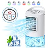 HAUEA Personal Air Cooler, Portable Air Conditioner, Desktop Cooling Fan, Mini Space Evaporative Air Cooler with with 7 Colors LED Lights, Timer, Handle, 3 Speeds for Home, Office, Room